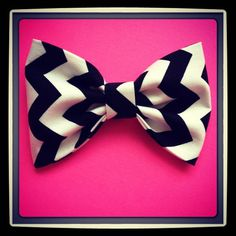 Chevron Zigzag Black print handmade fabric bow tie or hair bow on Etsy, $4.50