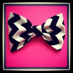 Chevron Zigzag Black print handmade fabric bow tie or hair bow on Etsy, $4.50