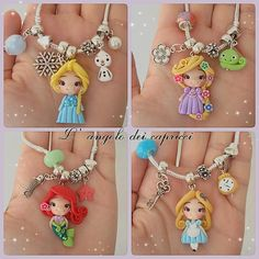 Set of princess new look clay edition 3 pendant- scrapbooking- polymer clay- princesses clay- bow embellishment Polymer Clay Princess, Polymer Clay Disney, Cute Polymer Clay, Cute Clay, Polymer Clay Dolls, Polymer Clay Miniatures, Polymer Clay Projects, Polymer Clay Charms, Polymer Clay Creations