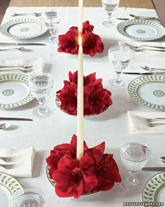 Poinsettia centerpieces for a pop of red, Bernardaud Constance dinnerware with green leaf border on a white table