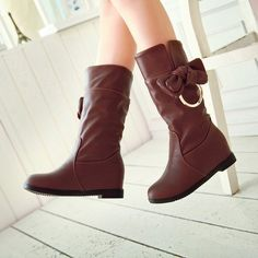 Bowtie Women Boots Soft Leather Wedges Shoes Woman 2016 3497