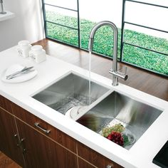 Vigo Alma 32 inch Undermount 50/50 Double Bowl 16 Gauge Stainless Steel Kitchen Sink & Reviews | Wayfair