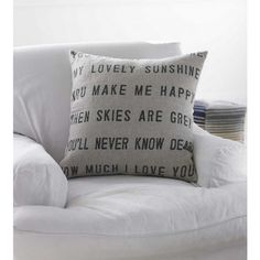DIY cushion with song lyrics