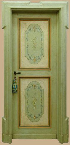 Reproductions of antique italian painted doors - Porte del Passato Door And Trim Paint, Italian Doors, Basement Doors, Victorian Door, Wooden Front Doors, Painting Trim, Antique Interior, Shabby, Hand Painted Furniture
