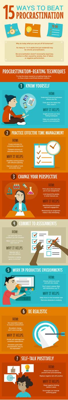 15 Useful Tips to Help Overcome Procrastination Infographic - Business Infographic Examples & Ideas – Daily Design Inspiration College Hacks, College Life, Infographic Examples, Effective Time Management, Heraklion, Study Motivation, Study Tips, Study Hacks, Time Management