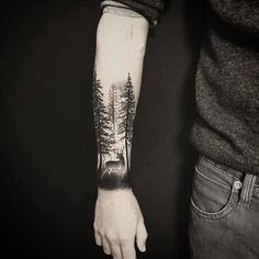 40 creative forest tattoo designs and ideas blackwork tattoo Forest Tattoo Sleeve, Forest Forearm Tattoo, Tree Tattoo Arm, Stag Tattoo, Nature Tattoo Sleeve, Forearm Tattoo Men, Tattoo Nature, Forearm Sleeve, Tree Tattoo Sleeves