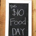 The $10 Food Day, Three meals and snack for the day. Price's may have gone up some this post I found is from 2013 & Where you  shop matters. Shop around to find the Grocery Store with the cheapest prices.