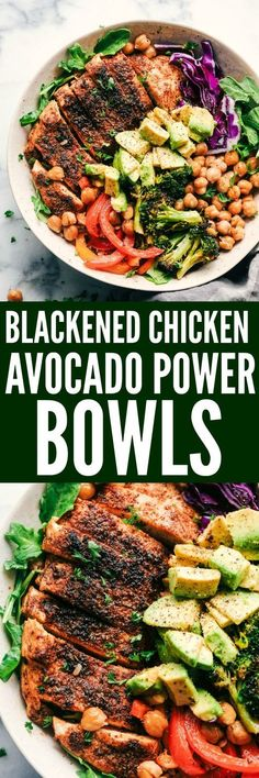 Blackened Chicken Avocado Power Bowls have the best spiced rubbed blackenend chicken with so many power foods! Avocado, chickpeas, red cabbage, quinoa and roasted veggies come together in this healthy and flavorful bowl!