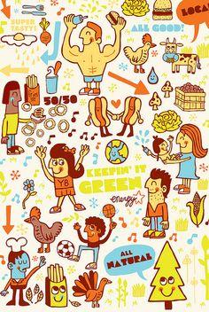 Tad Carpenter's Yeah Burger Illustrations.  Yeah! Burger
