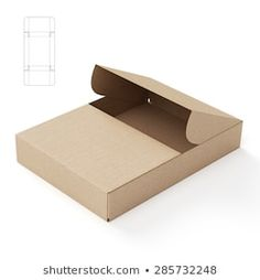 Slim Symmetric Retail Open Empty Box with Die Cut Template