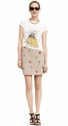 Must-Have Looks   Pineapple Tee   Embellished Skirt   Splash of summer for the perfect weekend look
