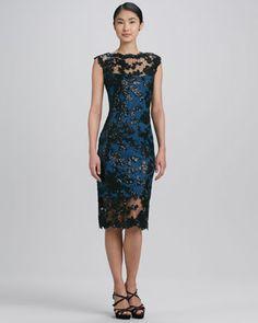 Sleeveless Scalloped Lace Cocktail Dress by Tadashi Shoji at Neiman Marcus. $328