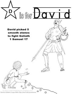 David and Goliath printable coloring page clip art doodling