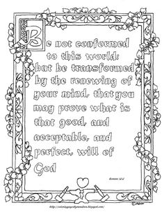 Coloring Pages for Kids by Mr. Adron: Free Printable Romans 12:2 Coloring Page…