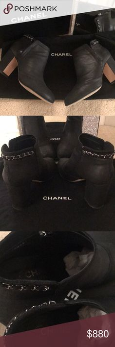 Chanel black distressed leather ankle bootie Chanel black distressed leather ankle bootie with side CC zipper and signature CC chains around the back •3 inch stack heel  See pictures for signs of wear on soles Great Chanel bootie!!! CHANEL Shoes Ankle Boots & Booties