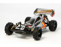 The Tamiya Egress 2013 is an easy to control and perfectly balanced Radio Control car for off-road running and jumping. This is a re-release of the iconic Egress 4WD off-road racing buggy. The  Egress first appeared in 1989. It was a follow up kit to the Avante,  which had a huge fan following. The original Egress featured stacks of  special racing parts. The Egress (2013) builds upon the racy original of  the same name, adding modern parts to bring it fully up to speed with  available ...