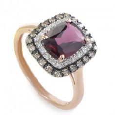 rose gold rhodolite & diamond ring