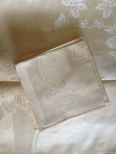Vintage Yellow Rose Damask Table Cloth and Napkins