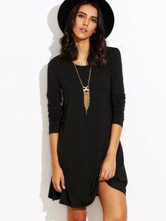 Black Long Sleeve T-shirt Dress