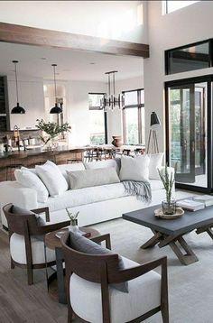 living room - modern neutral living room design, kitchen design, and modern dining room design Home Living Room, Living Room Furniture, Living Room Decor, Decor Room, Nursery Decor, Bedroom Decor, Interior Desing, Interior Modern, Scandinavian Interior