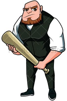 Angry Mobster Holding A Bat: Royalty-free stock vector illustration of a bulky mobster with shaved hair and a beard, looking angry and holding a baseball bat, ready to get into trouble! #friendlystock #clipart #cartoon #vector #stockimage #art #mafia #boss #1920 #mobster #thug #dangerous