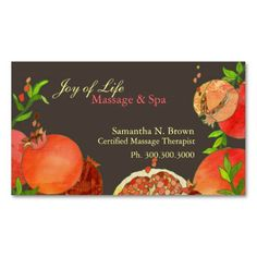 Pomegranate: Massage and Spa Appointment Cards Business Card Template. This great business card design is available for customization. All text style, colors, sizes can be modified to fit your needs. Just click the image to learn more! Spa Business Cards, Business Card Design, Massage Business, Spa Massage, Joy Of Life, Standard Business Card Size, Write It Down, Text Style, Appointments