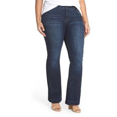 Lucky Brand Emma Stretch Flared Jean (Plus Size) ($40) ❤ liked on Polyvore featuring plus size women's fashion, plus size clothing, plus size jeans, banning, plus size, flared jeans, stretchy high waisted jeans, flare leg jeans, stretch jeans and high-waisted jeans