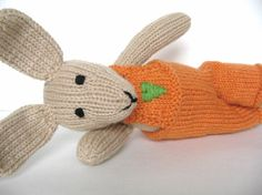 Hand Knit Bunny Rabbit Stuffed Animal Plush Toy by VeryCarey  verycarey.etsy.com