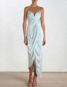 Sueded Silk Plunge Long Dress