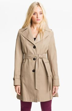 DKNY Single Breasted Trench Coat (Petite) | Nordstrom — Love the pockets! Also! Petite!