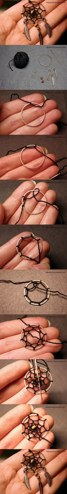 DIY Dream Catcher Pendant | www.FabArtDIY.com LIKE Us on Facebook ==> www.facebook.com/... #diy
