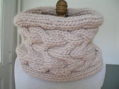 Lilly Cabled Cowl in Butternut Made and Ready to by ZandZKnits, $65.00
