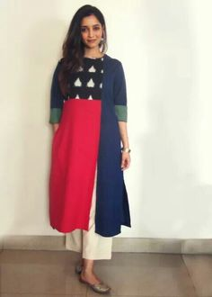 New stylish and trendy kurti neck designs - ArtsyCraftsyDad Kurti Neck Designs, Blouse Designs, Indian Dresses, Indian Outfits, Nice Dresses, Casual Dresses, Fashion Dresses, Trendy Kurti, Ikkat Dresses