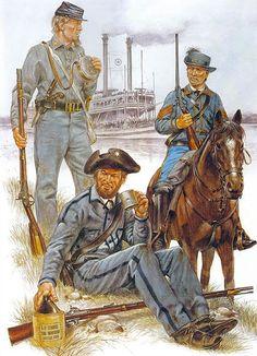 """ACW Confederate: """"The Army of Mississippi, 1861 (fatigue dress): • Natchez Fencibles • True Confederates • Bolivar Troop"""", Richard Hook"""