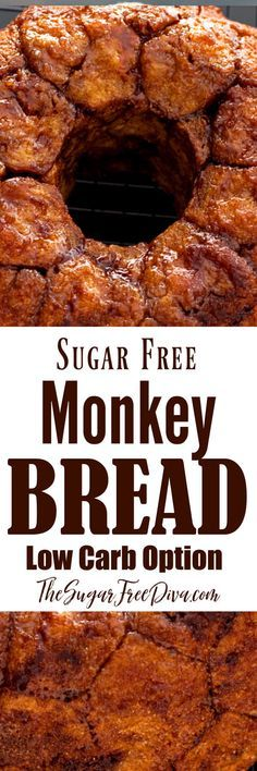 Enjoy this delicious sweet tasting pull apart Sugar Free Low Carb Monkey Bread recipe without all of the sugar and carbohydrates added to it. Low Sugar Recipes, No Sugar Foods, Sweet Recipes, Bread Recipes, Easy Recipes, Chicken Recipes, Sugar Free Deserts, Sugar Free Sweets, Diabetic Friendly Desserts