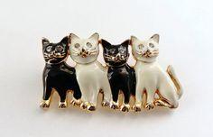 Black+Cat++White+Cat++Enamel+Pin+Enamel+by+ClassicEndearments