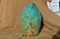 Vase/vessel wet felted from hand dyed merino wool by FeltTheFluff