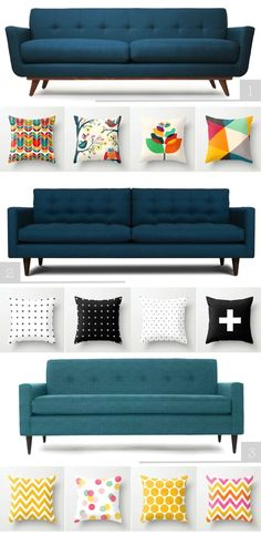 Inspiration: Mid-Century Sofa and beautiful pillows