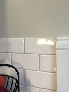 SW Agreeable Gray wall paint with warm gray grout on subway tiles Home, Kitchen Colors, Kitchen Remodel, Grey Walls, Grey Grout, Grey Wall Color, Trendy Kitchen, Kitchen Tiles Backsplash, Bathrooms Remodel