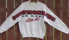 GRAY Snowmobiling Is Life Live It Snowmobile Sweater L large Vintage Retro Mens #FruitoftheLoom #Crewneck