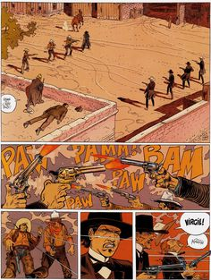 """Shootout scene from """"Dust"""" Blueberry by Moebius with colours by Scarlett Smulkowski. Jean Giraud, Westerns, Georges Wolinski, Moebius Art, Nuclear Family, Serpieri, Western Comics, Ligne Claire, The Lone Ranger"""