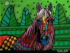 Original HORSE Painting Heather Galler Abstract Animal Portrait Modern Folk Art #Abstract