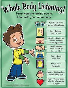 Whole Body Listening Poster by Social Thinking Recently, I took part in a county-wide speech therapy round-table discussion about casel. Behaviour Management, Classroom Management, Preschool Behavior Management, Whole Body Listening, School Social Work, Classroom Behavior, Classroom Decor, Eyfs Classroom, Classroom Libraries