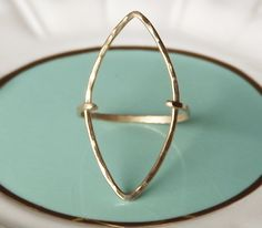 Hammered Long Marquise Gold Filled Ring  Gold door BellatrinaJewelry