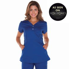 """Longer top from Koi in Galaxy, 26"""" length (size S) 55% cotton/45% polyester soft twill top, Two functioning snap buttons and deep pockets XS-3X, £27.50  #dental #uniforms #nurse #female #scrubs #tunics #top #healthcare #koi #Justine #happythreads"""