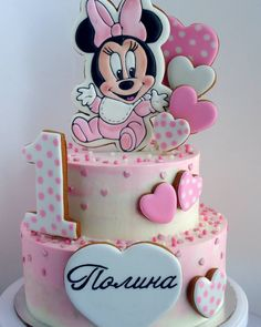 Love this baby Minnie cake Mini Mouse Birthday Cake, Minnie Mouse First Birthday, Baby Birthday Cakes, Mickey Birthday, Mickey And Minnie Cake, Bolo Minnie, Mickey Cakes, Baby Minnie Mouse Cake, Rodjendanske Torte
