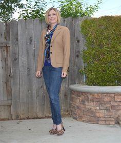 Camel JCrew blazer, cobalt sweater and leopard print shoes