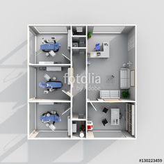 3d interior rendering of furnished dental clinic with three dental chairs