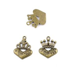 * Penny Deals * - Qty:1PC Antique Bronze Jewelry Making Charms Findings Supplies Craft Ancient Repair Lots DIY Antique Pendant Vintage Z72820 Love Heart Crown >>> You can find more details by visiting the image link.