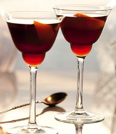 Grey Goose Royal Toast | This vintage classic shows all the versatility of GREY GOOSE, blending rich cherry liqueur with aromatic French sweet vermouth. | GREY GOOSE® Original 1 Part Cherry Heering 1 Part Noilly Prat® Rouge Vermouth 1 Part Orange Zest Garnish